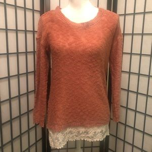 Hippie Rose M Rust Orange Knit Sweater Lace trim